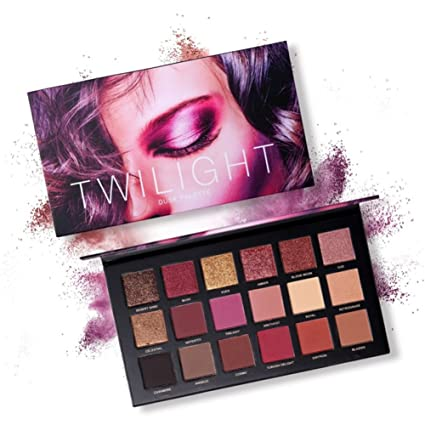 Paleta de sombras de ojos, Angmile Matte Eyeshadow Palette & Glitter Eyeshadow 18 Colores Combination Smoky with Shimmer Sombra de ojos Twilight & ...