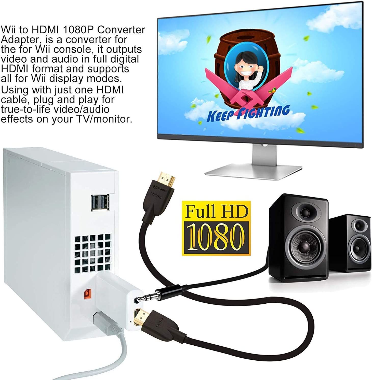 Goldoars Wii a HDMI Adaptador, Conversor de Wii a HDMI 720P/1080P con Cable HDMI con Puerto HDMI y Jack 3.5mm – Soporta Todos Los Modos de Visualización Wii (Negro): Amazon.es: Electrónica