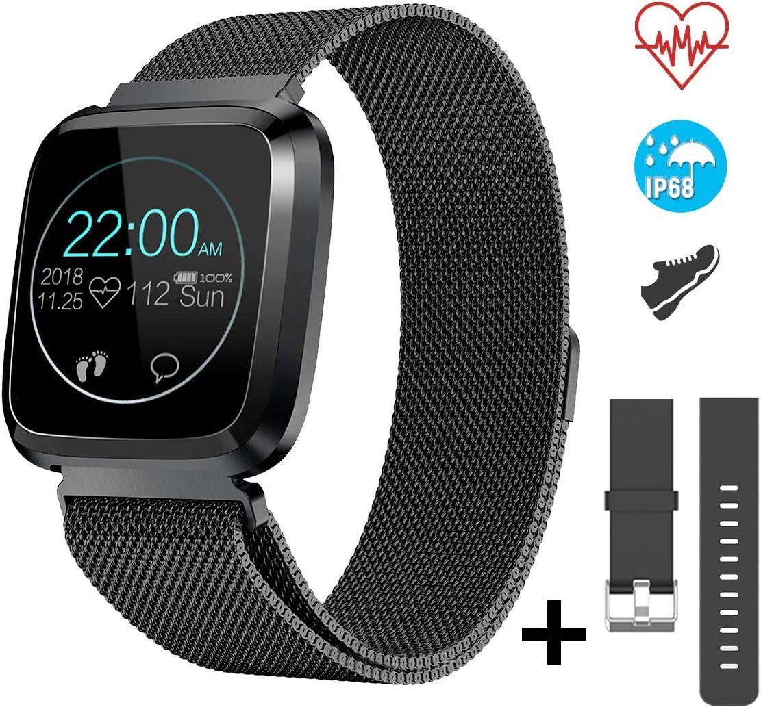 CatShin Smartwatch Android/iOS con Pulsómetro,CS08 Pulsera Actividad Reloj Deportivo Inteligente con Impermeable IP68 Cronómetro,Monitor de sueño,Podómetro,Notificación de Mensajes por Mujer…