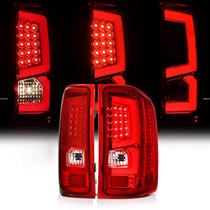 amazon com: chevy silverado pickup red led tail brake lamps with c-streak  tube rear brake parking lights: automotive