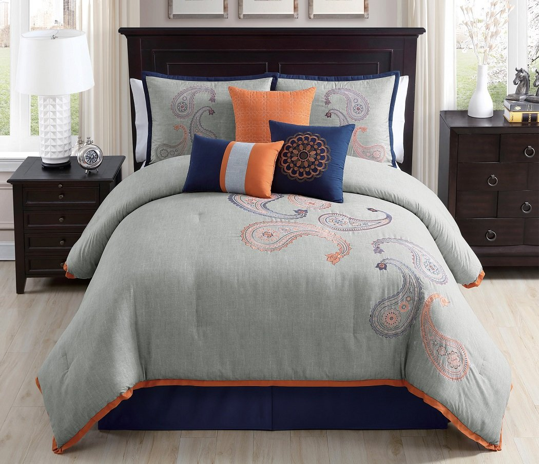 Orange Paisley Floral Embroidery Comforter Bedding Set