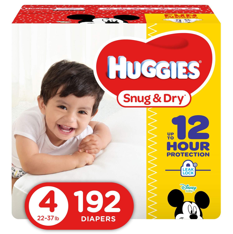 HUGGIES Snug & Dry Diapers, Size 4, 192Count (Packaging May Vary) by HUGGIES