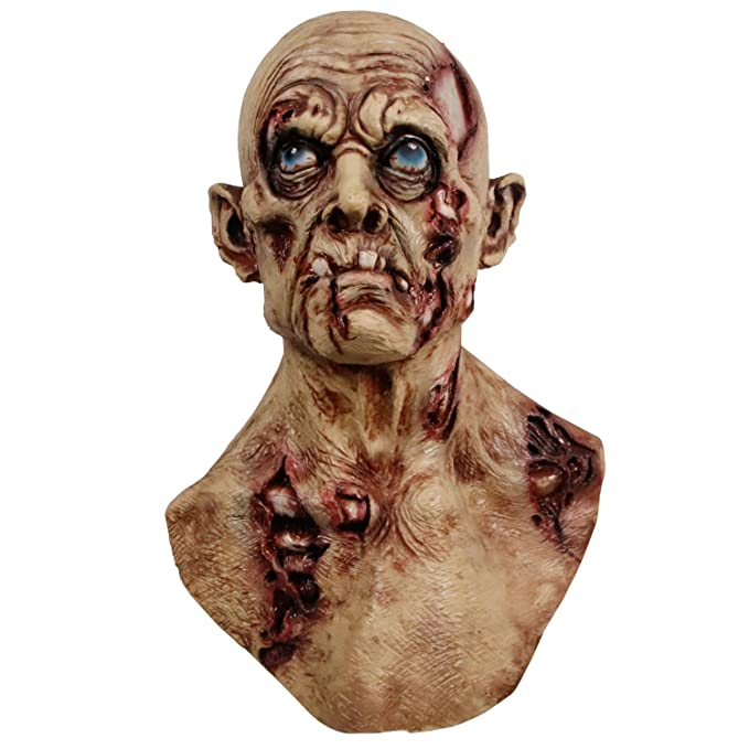 Creepy Scary Zombie Mask Bloody Rotten Face Walking Dead Costume Latex Virus Horror Mask Suit Halloween Prop