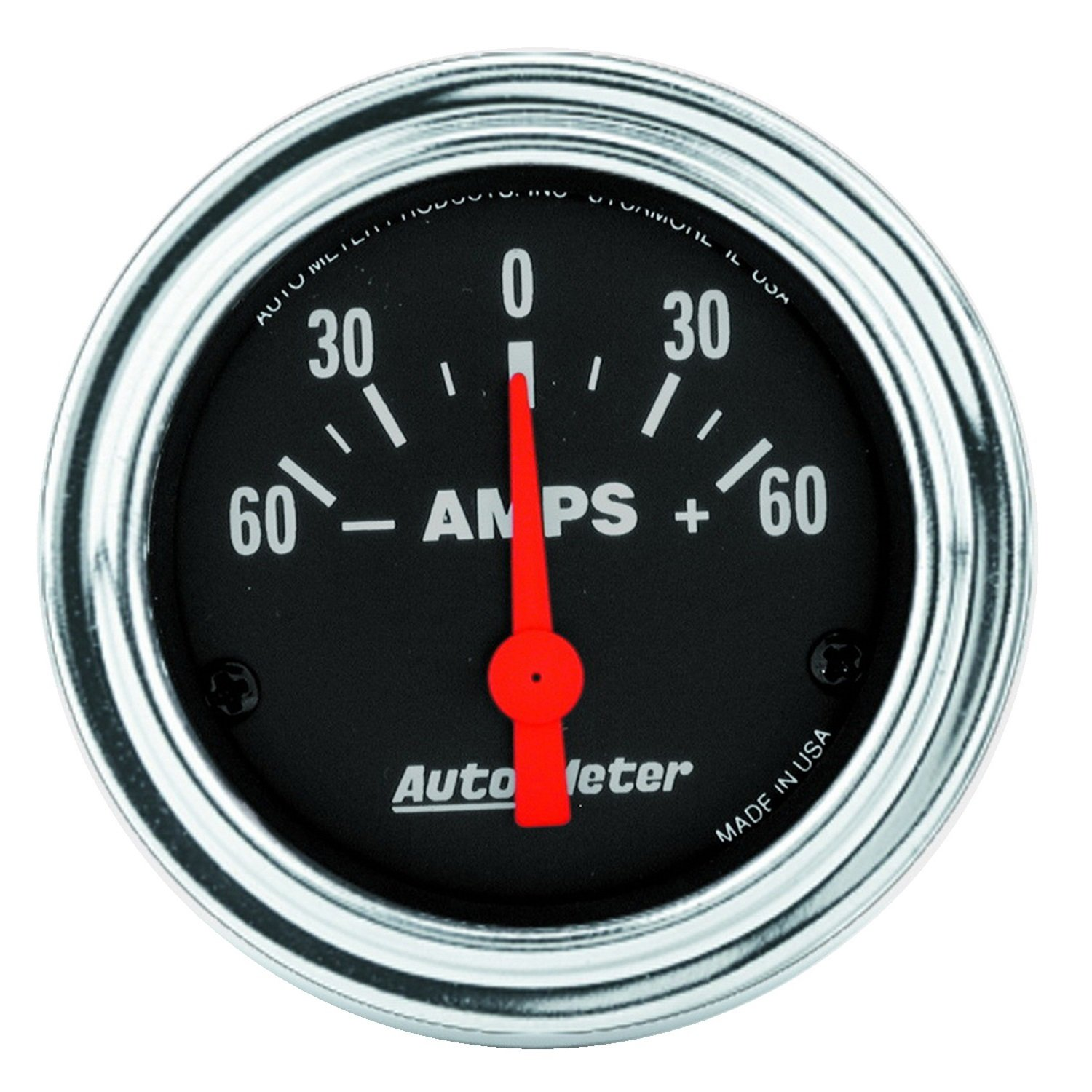 Auto Meter 2586 Traditional Chrome 2-1/16' 60-0-60 amps Short Sweep Electric Ammeter Gauge