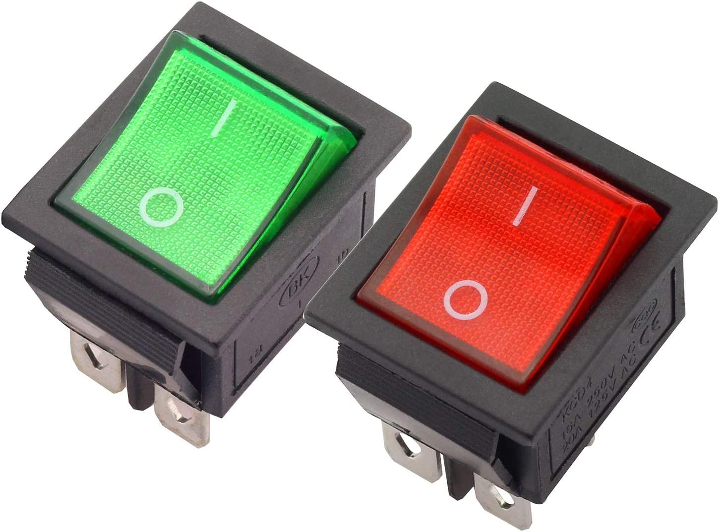 Magic&shell 2-Pack Rocker Power Switch 16A 250V AC 4 Pin 2 Position ON/Off Power Switch DPST Red/Green Button with Light