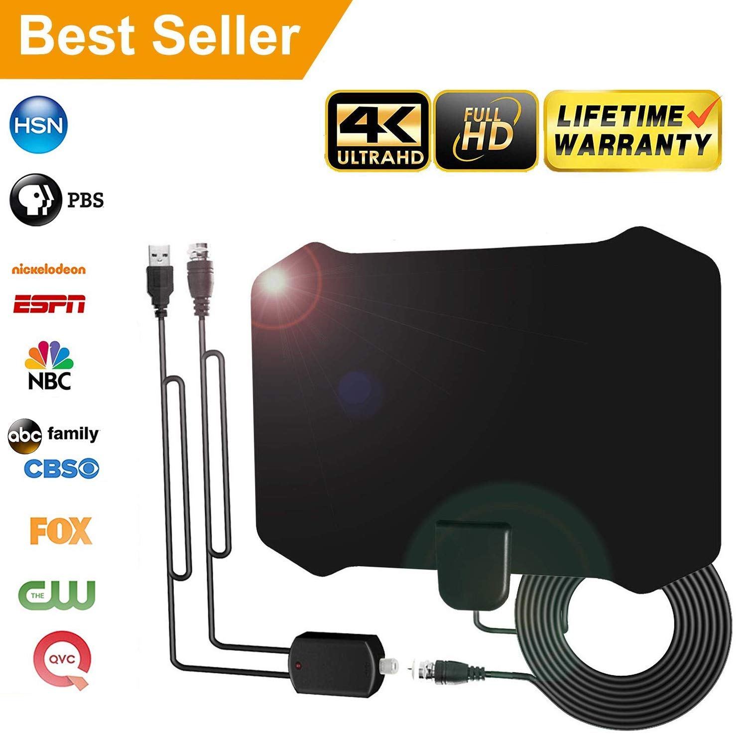 [2019Upgraded] HDTV Antenna Amplified Digital HD TV Antenna 120+ Mile Range 4K 1080P Indoor Powerful HDTV Amplifier Signal Booster VHF UHF Freeview Television Local Channels w/Detachable Sign (16.5Ft)