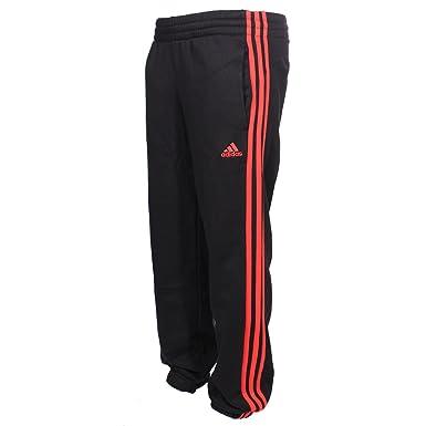 bd0fa6043eae adidas Essential 3 Stripe Kids Tracksuit Pant Trouser Black Orange   Amazon.co.uk  Clothing