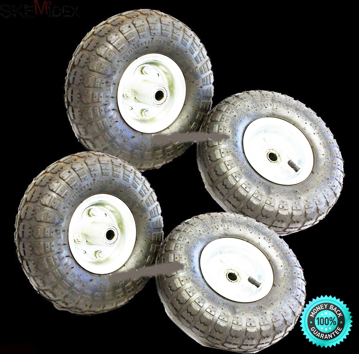 SKEMiDEX---New 10'' 300 LB Lot Of 4 Wheels Industrial Tires Dolly Tire Wheel Air Tire HD. Ideal for Hand Trucks, Wagons, garden carts, wheel barrows & other farm equipments