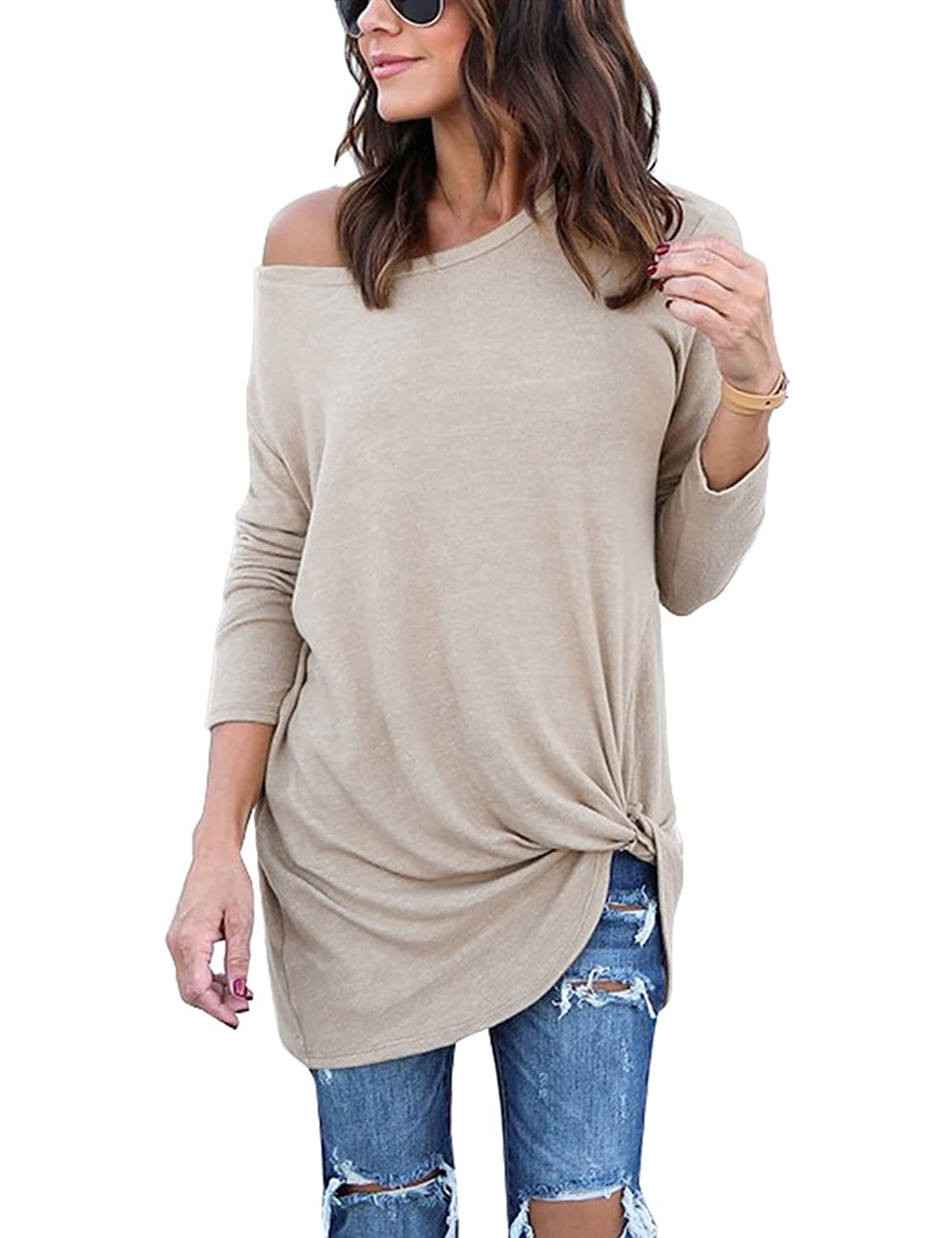 c3db32913 The basic long sleeve tee features: long sleeves, solid color, special  twist knot front tops for women casual, pullover shirts, novelty t shirts  for women.