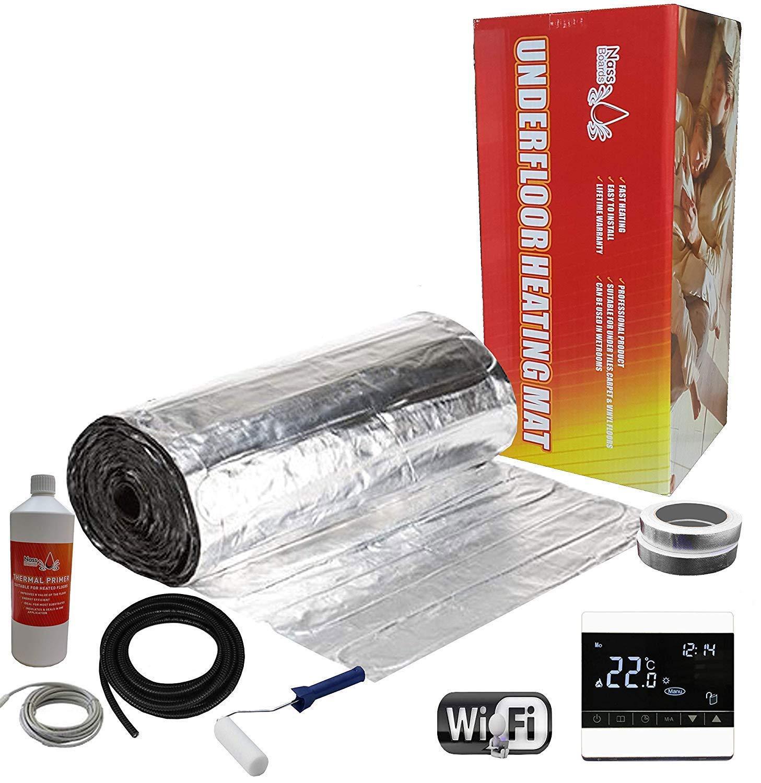 Thermostat Blanc Wifi 8m2 Nassboards Premium Pro - Kit élite Aluminium de Tapis de Chauffage Au Sol électrique Boite Rouge de 150 W - 12.0m²