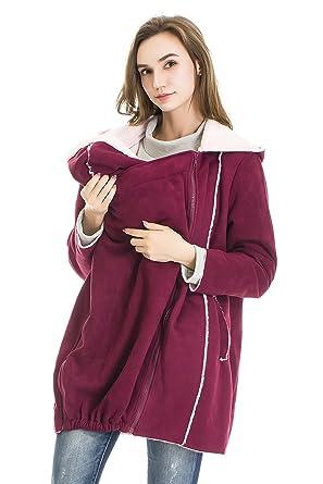 38c33cc005044 Bearsland Women's 2in1 Maternity Womens Nursing Hoodie Breastfeeding  Sweatshirt for Baby Carrier Purple Red at Amazon Women's Clothing store: