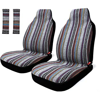 Best 4 Pc Universal Baja Inca Saddle Mexican Blanket Front Seat Covers Pair Low Back