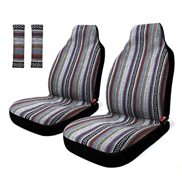 Astounding Copap 4Pc Universal Stripe Colorful Baja Front Seat Cover Baja Bucket Seat Cover Blue Saddle Blanket With Seat Belt Pad Protectors For Car Suv Beatyapartments Chair Design Images Beatyapartmentscom