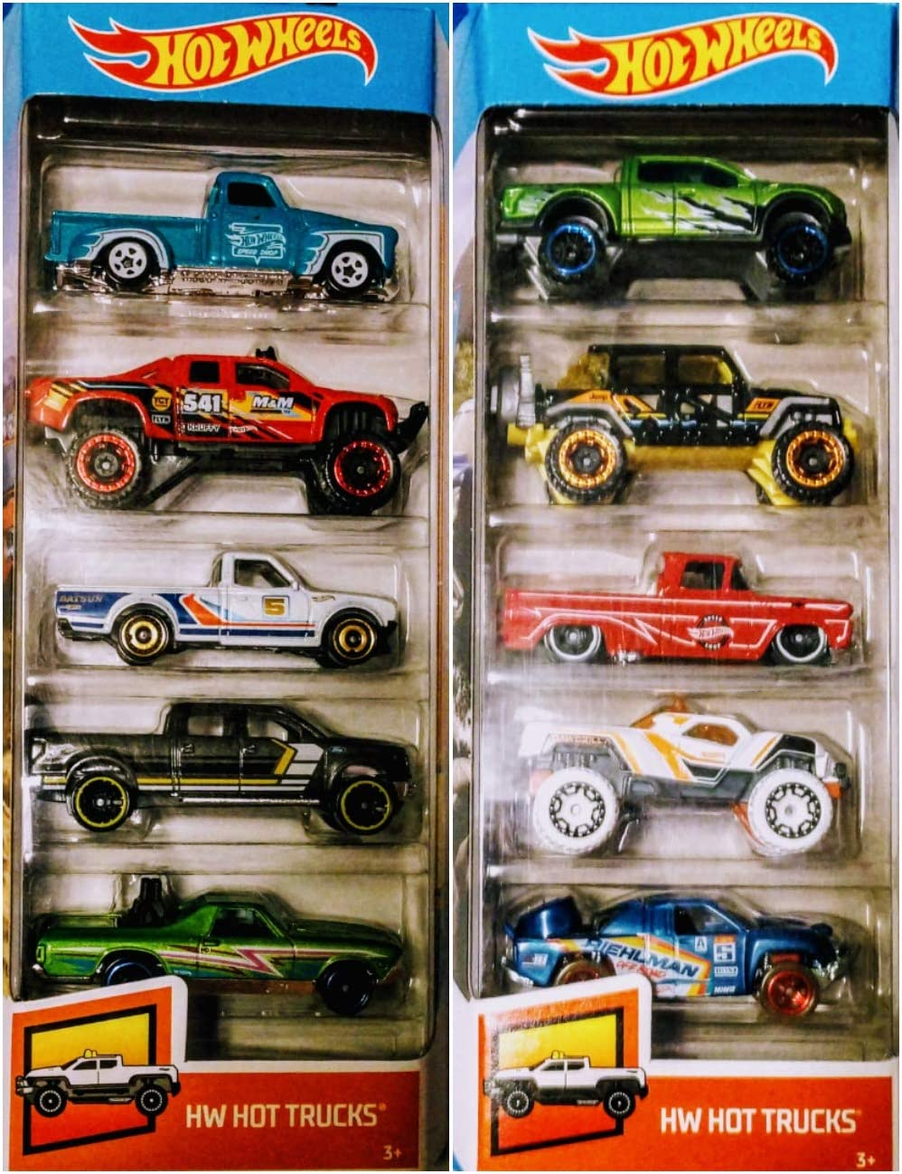 Hot Wheels 2019 and 2020 HW Hot Trucks 5 Pack 10 Truck Bundle Set ...
