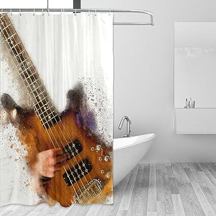 JSTEL - Cortina de ducha de guitarra eléctrica abstracta resistente al moho y resistente al agua