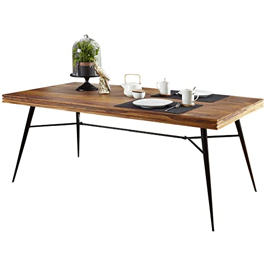 Wohnling mesa de comedor Nishan 200 x 100 x 78 cm Sheesham madera ...