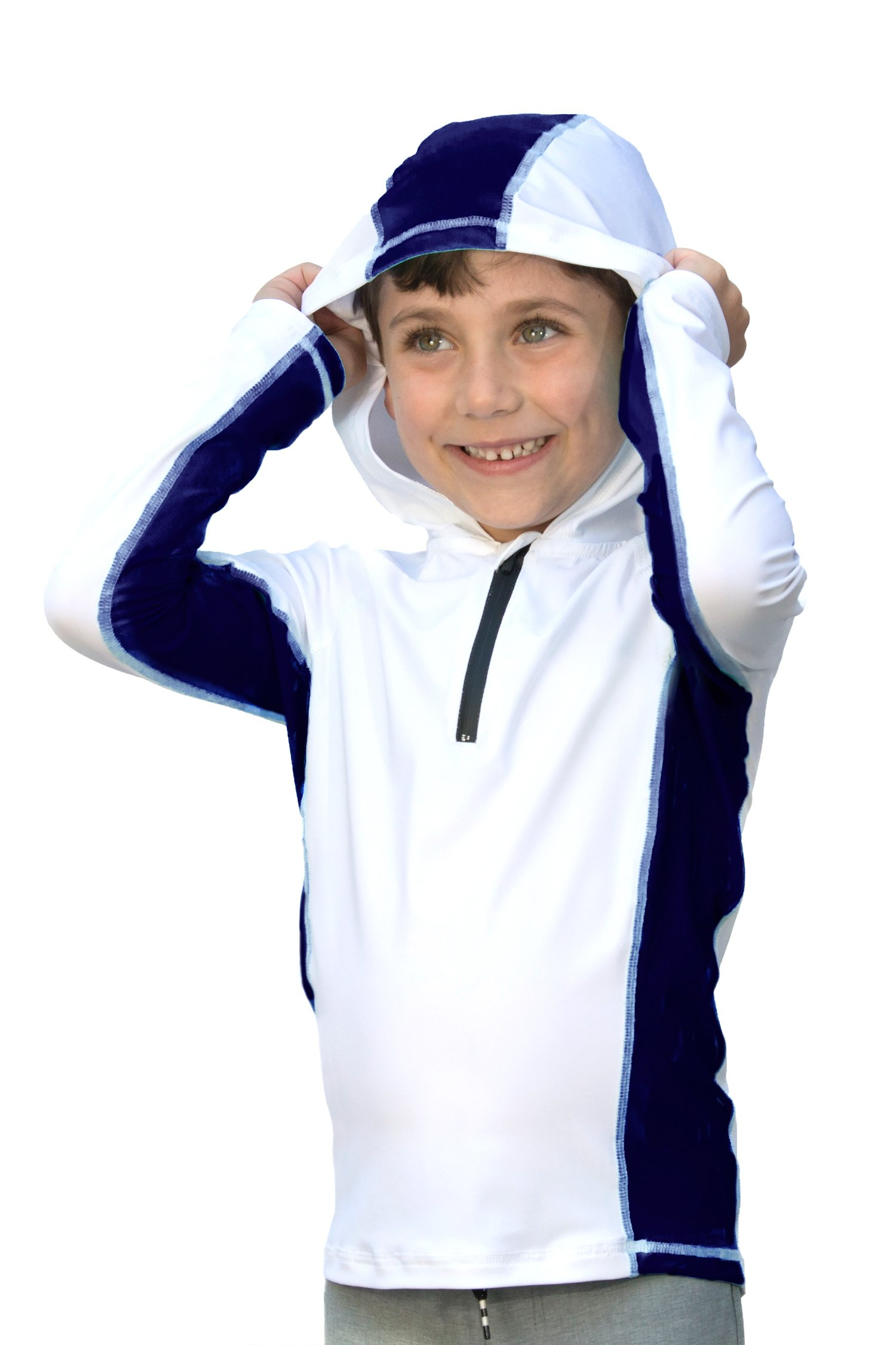 Boys/Girls Ultra-Premium Swim Shirt (Rash Guard) with a Hood