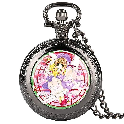 Reloj de Bolsillo para Mujer, diseño de Personajes de Dibujos Animados, Reloj de Bolsillo para niña, Reloj de Bolsillo Digital arábigo para Adolescentes: ...