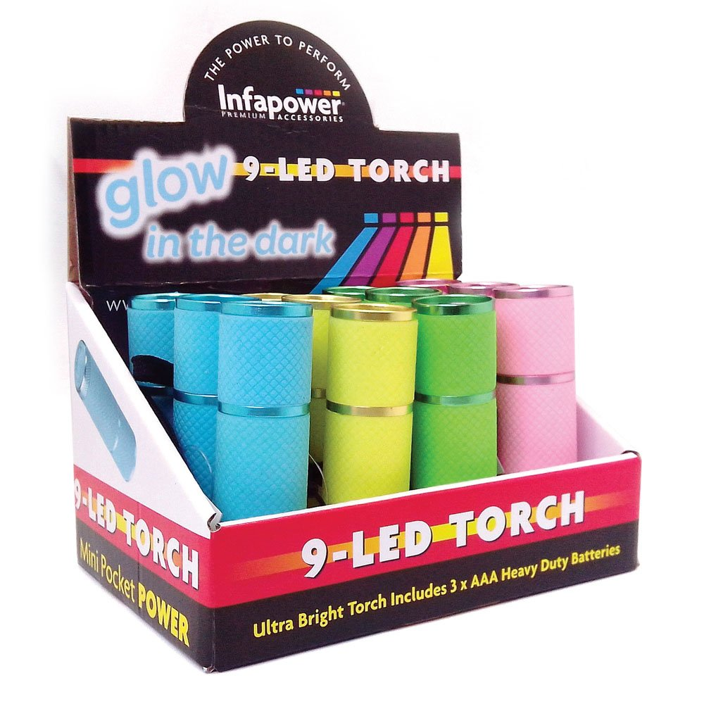kingavon bb rt365 9 led glow in the dark torch in cdu colours infapower f007 9 led glow in the dark torch pack of 12