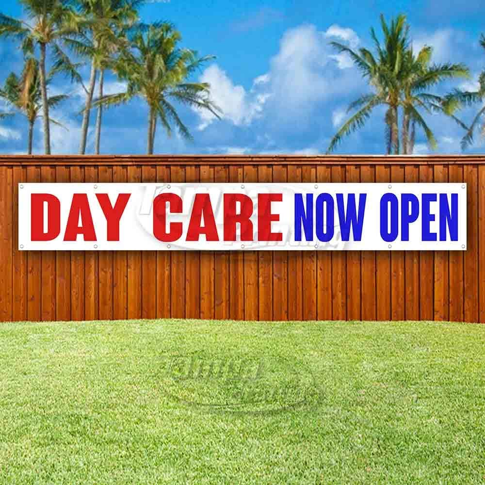 Many Sizes Available Day Care Now Open Extra Large 13 oz Heavy Duty Vinyl Banner Sign with Metal Grommets New Store Flag, Advertising
