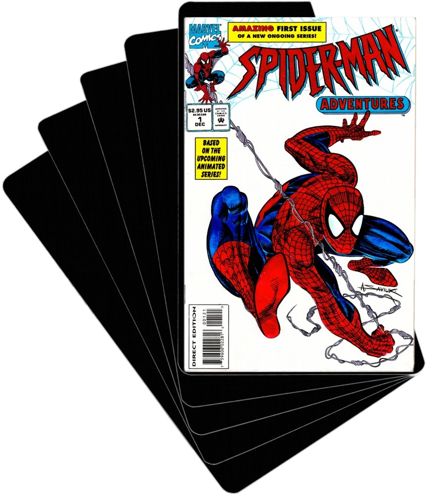 (100) Comic Book Divider Cards - SLOPED LESSER CUT - Black, Heavy Duty 40mil - 7'' x 11'' - #CXNS11BK40DI
