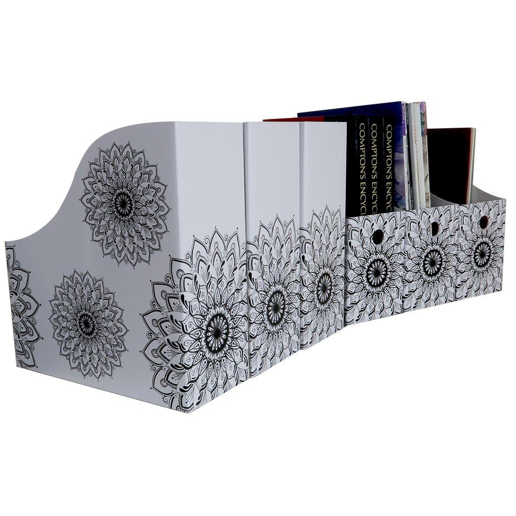 Evelots Set of 6 Magazine File Holder Organizer Boxes W/Labels, Mandala Design