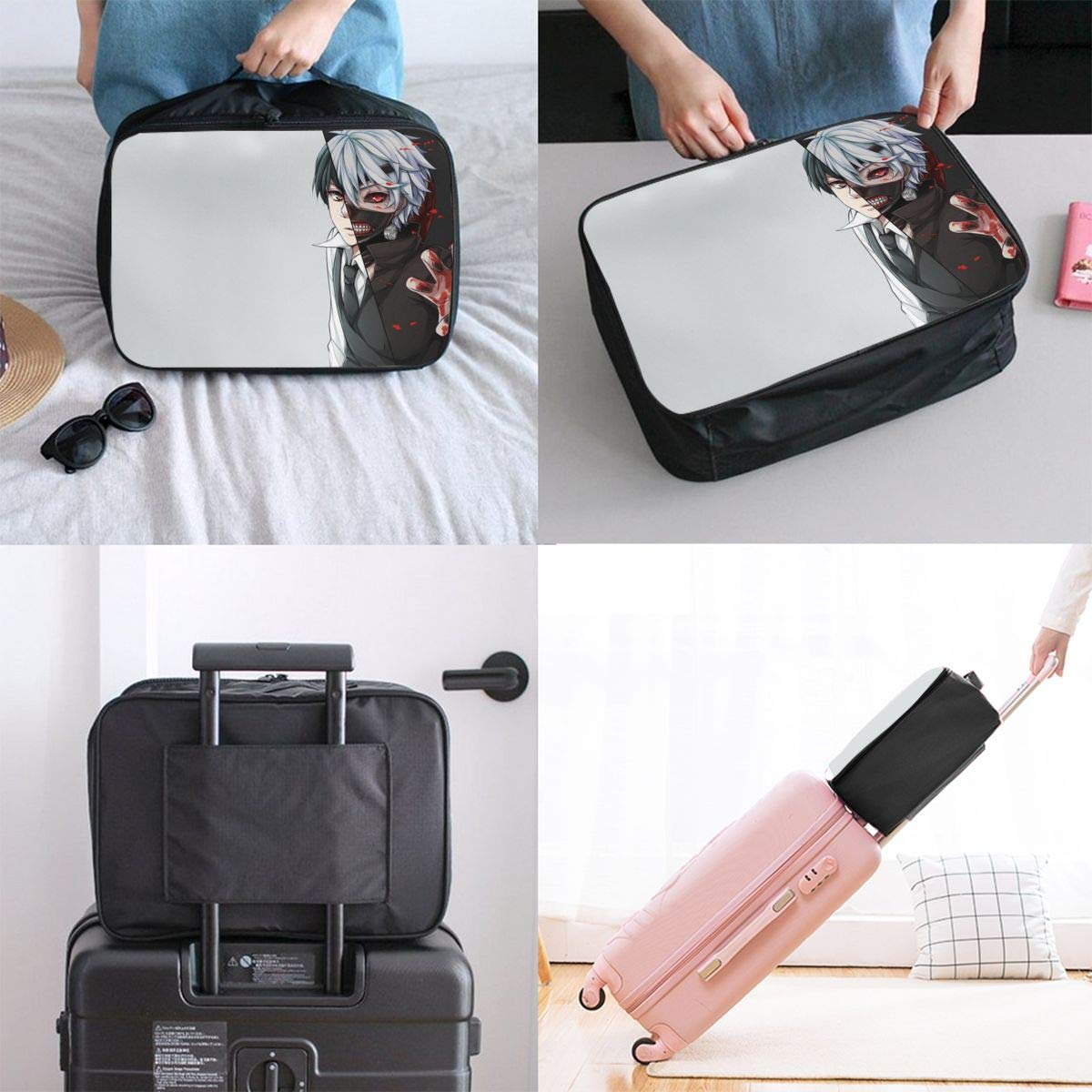 Anime Tokyo Ghoul Customize Casual Portable Travel Bag Suitcase Storage Bag Luggage Packing Tote Bag Trolley Bag