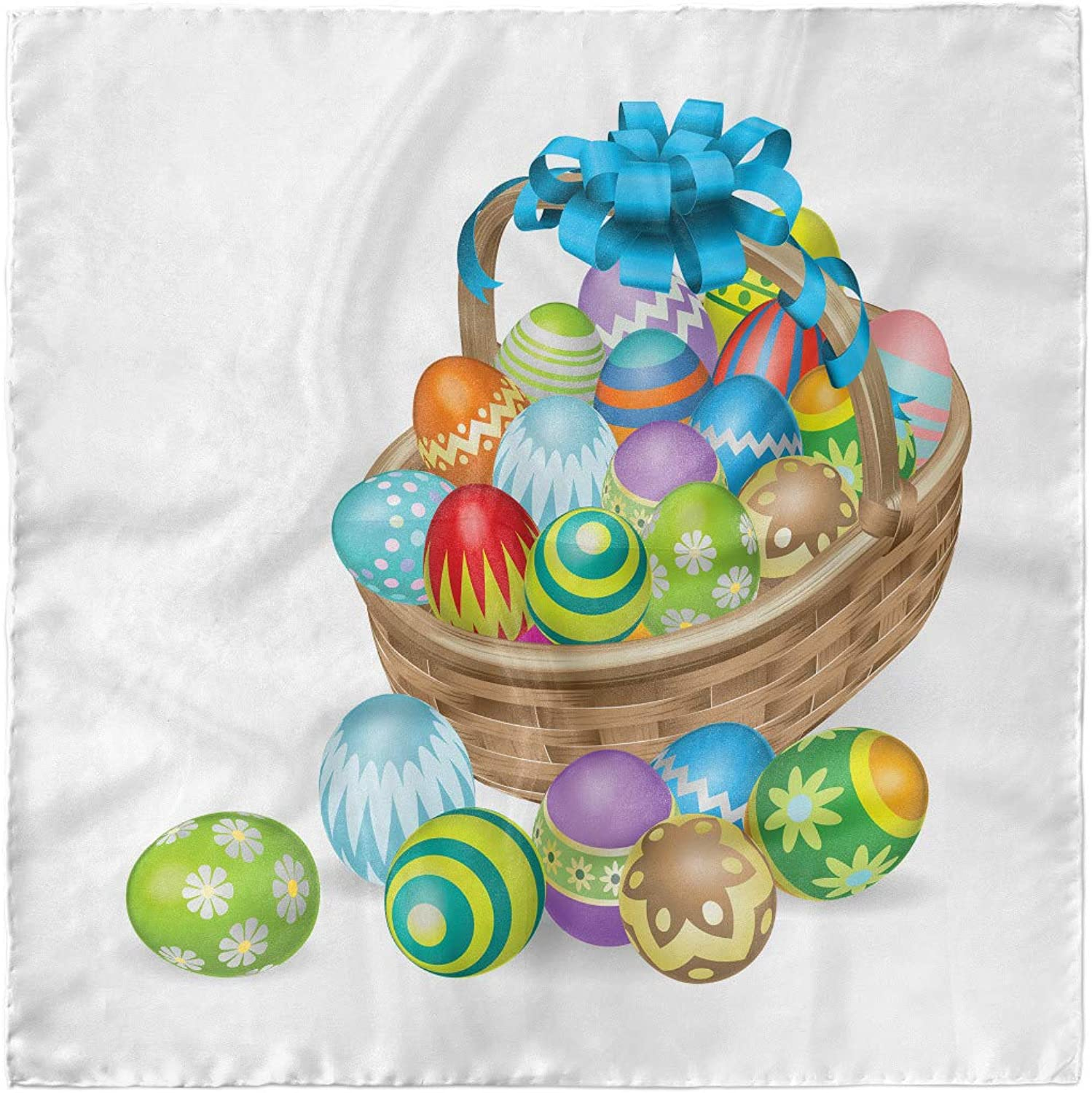 Ambesonne Easter Head Scarf Hair Wrap Basket of Colorful Eggs