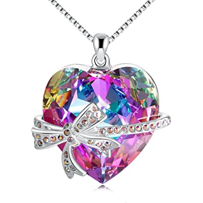 GAEA H Heart Necklaces for Women, Crystal Pendant Neckalce with Swarovski,Forever Love Diamond Fashion Jewelry