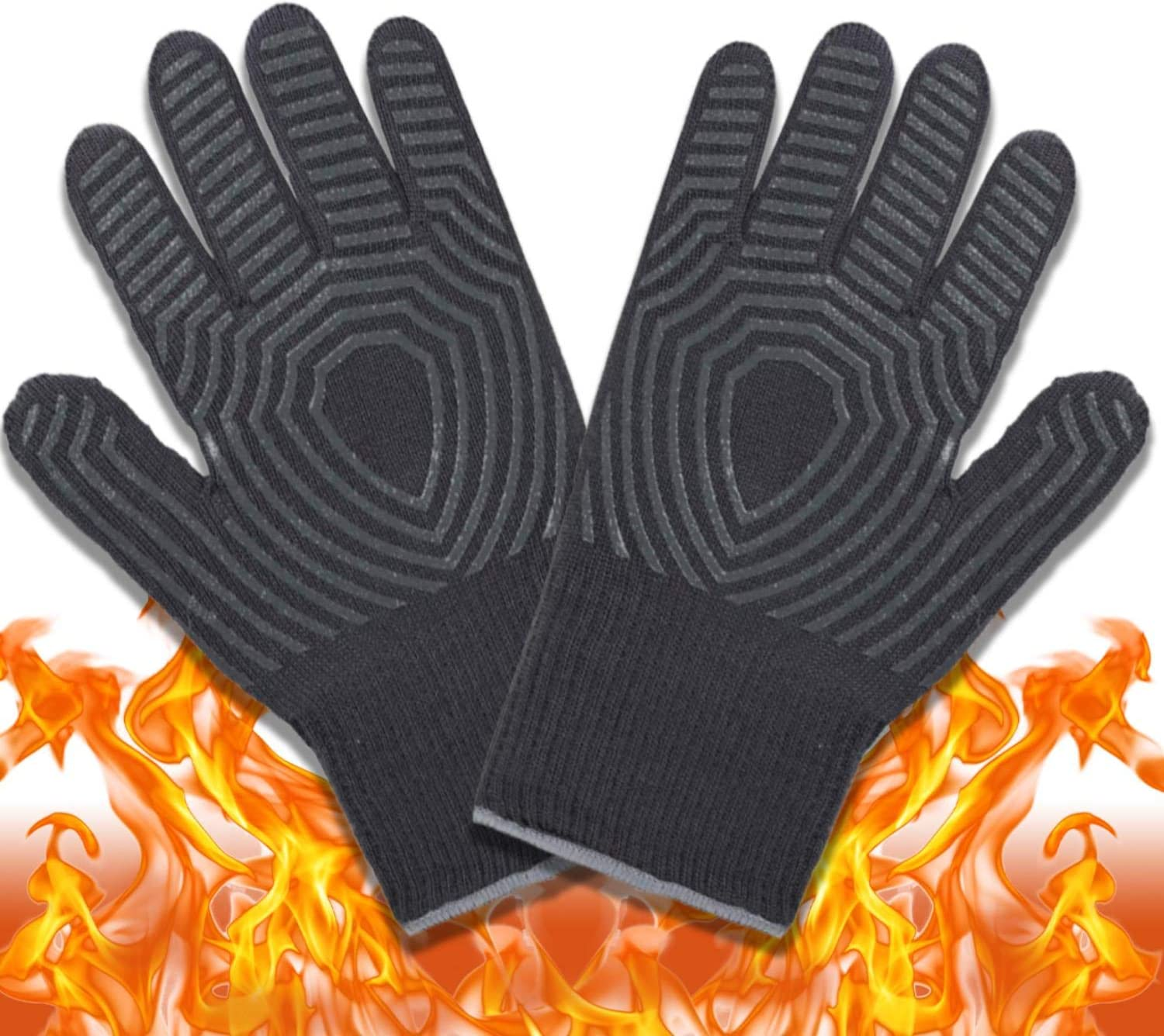 AZOKER BBQ Gloves - 932℉ Extreme Heat Resistant EN407 Certified - Silicone Non-Slip Cooking Gloves-Improved Oven Mitts-Oven Gloves for Cooking, Welding-14 (One Size Fits Most, Grey)