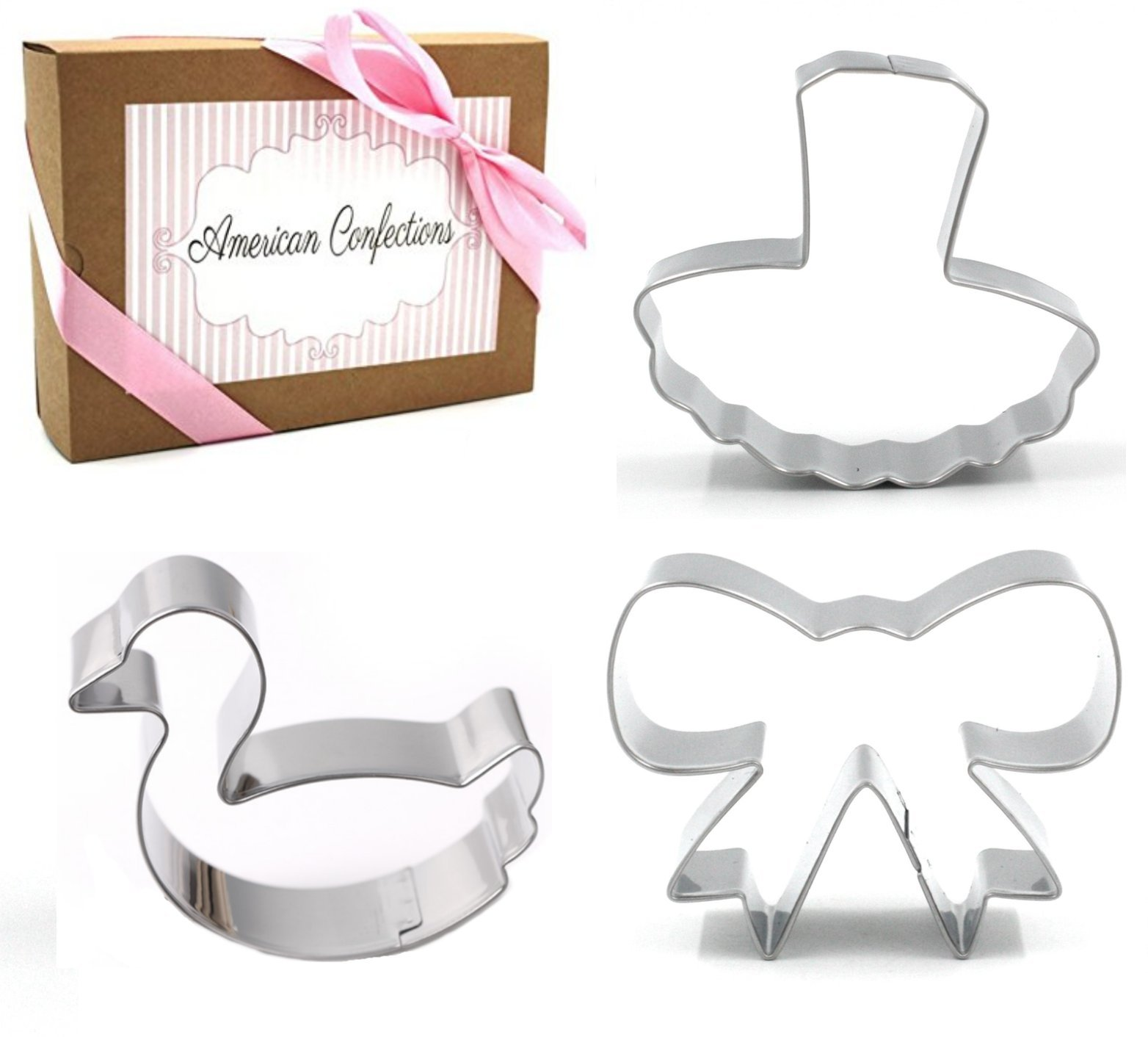 Ballet Dance Cookie Cutter - American Confections - Swan, Bow, Ballerina, Tutu - Set of 3