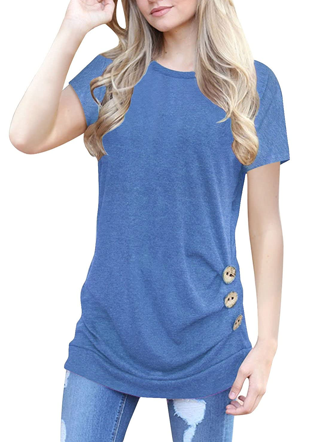 b1cb7df1ddb Heymiss Short Sleeve Shirts For Women Round Neck Tee Button Side Tunic Tops  S-XXL Material:35% cotton, 60% Polyester,5% Spandex Style:Brief,  Casual,Fashion