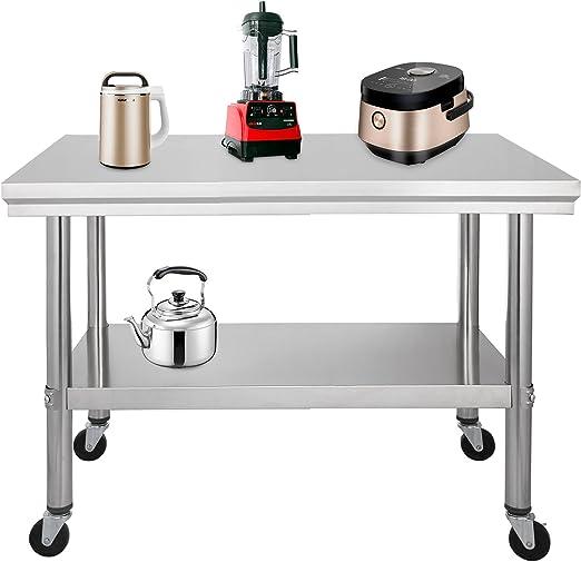 Moracle Mesa de Trabajo de Cocina Profesional Mesa de Trabajo de Cocina de Acero Inoxidable con Ruedas (91x61cm): Amazon.es: Hogar