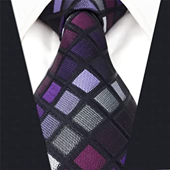 Shlax&Wing Checked Necktie For Men Seda Tie Set Morado Traje de negocios a cuadros Boda
