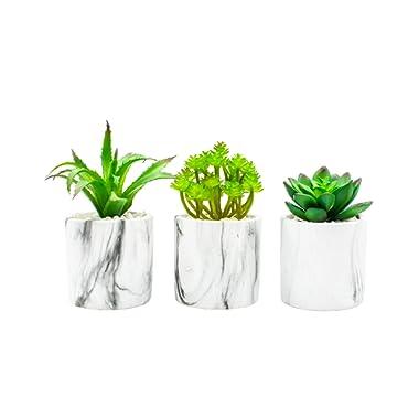 Artificial Succulent Plants in Pot, Potted Fake Plants, Premium Cement Planter, Stylish Marble Decor, (3 Planters)