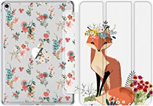 iPad 9.7 Case (2018/2017),iPad Air 2 Case, iPad Air Case with Floral Designs for Kids Girls Women,Smart Stand Cover for Apple iPad 5th/6th Gen,iPad Air1/Air2[Auto Sleep/Wake] Fox and Flowers