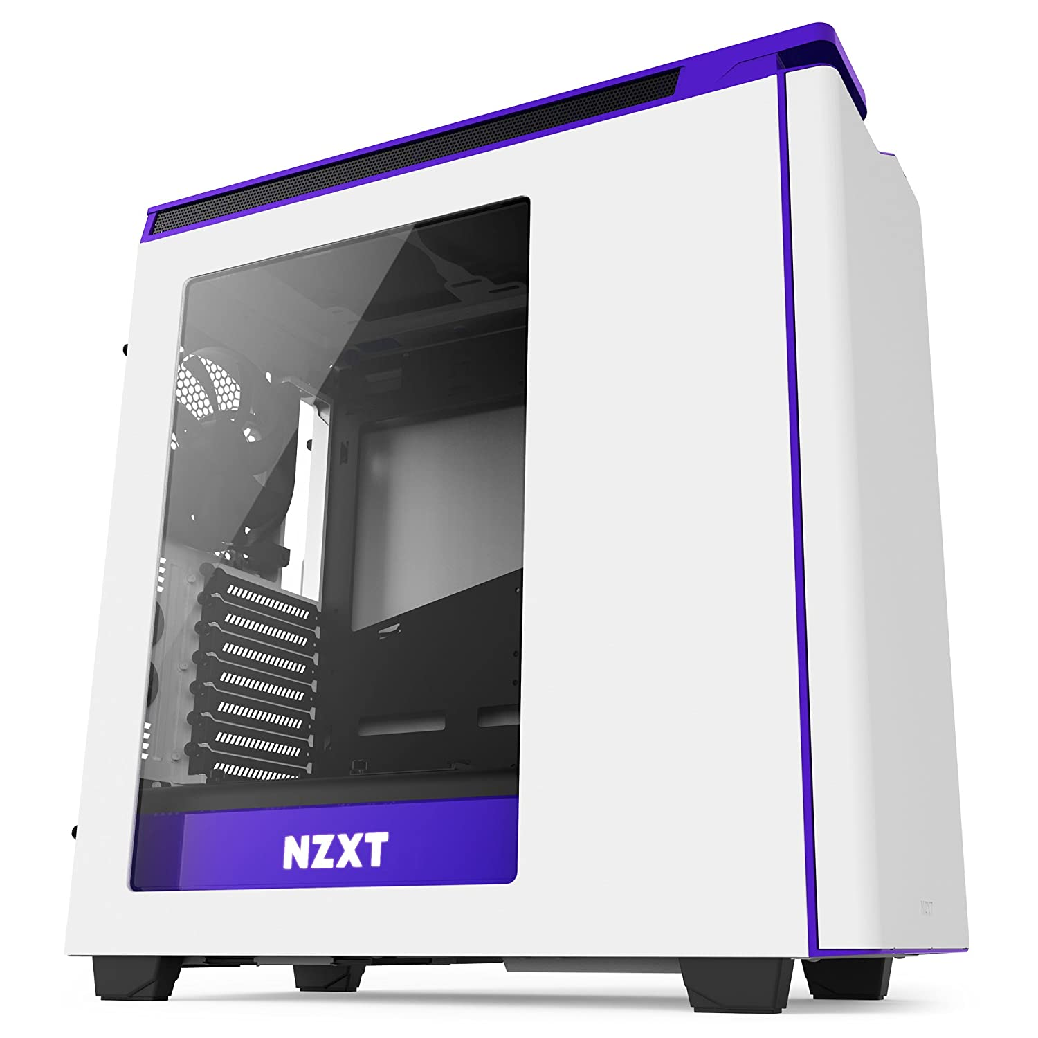 NZXT H440 Matte White and Purple Mid Tower Case - CA-H442W-W2