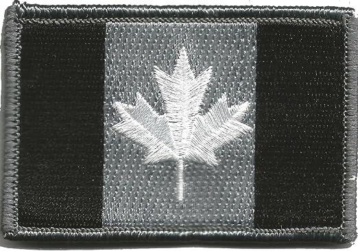 10 Parche Bandera Canadá canadiense Emblema De Hierro En Blanco Y Negro Táctico la moral