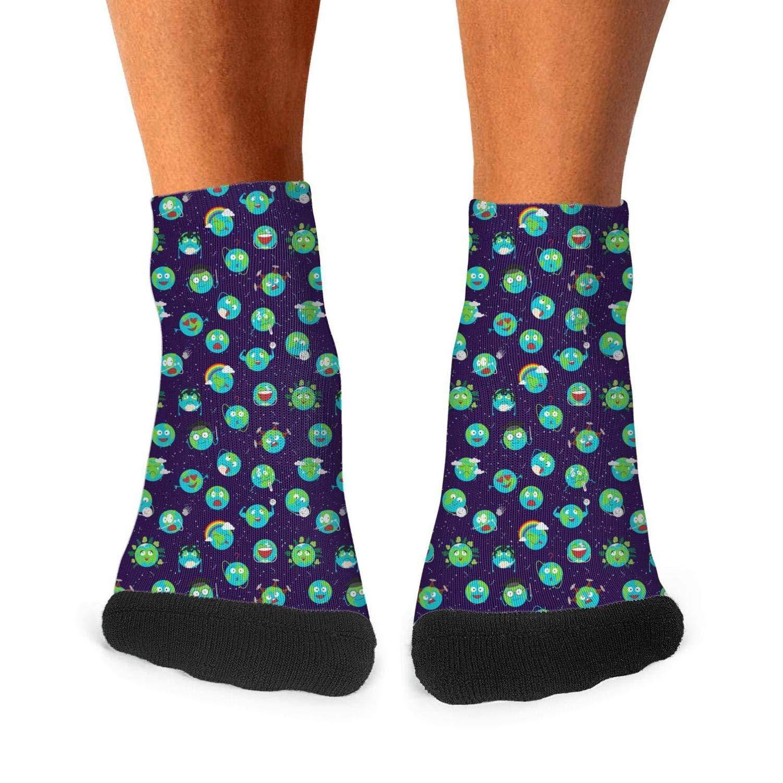 Floowyerion Mens cartoon globe earth emotion face character blue Novelty Sports Socks Crazy Funny Crew Tube Socks