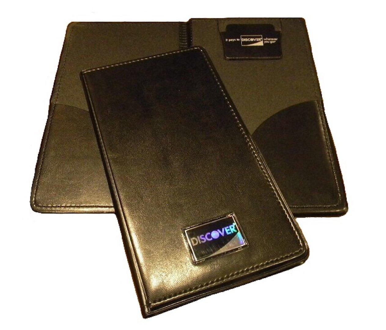 NEW Restaurant Waitstaff Waiter Waitress Double Panel Checkbook Presenter Leather Black Good Quality (12)
