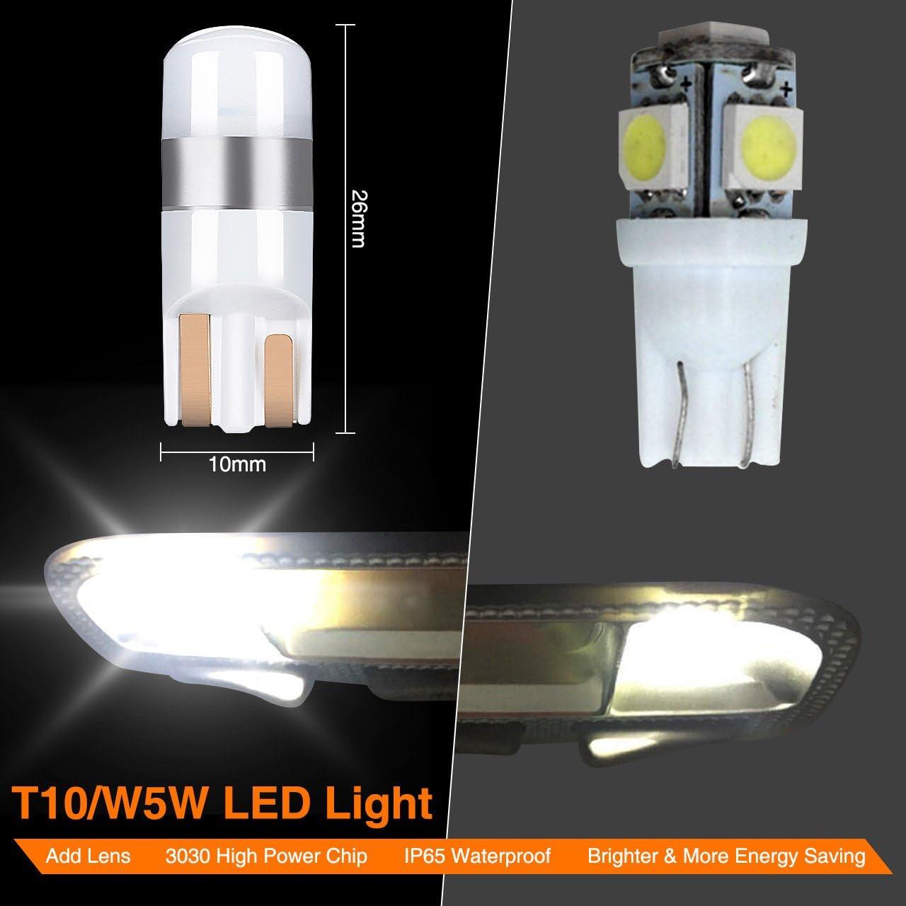 Interior Lamps LED White Car Interior Light Bulbs Interior Lamps 4/× LED Bulbs T10 Super Bright Led Car Parking Light 6000 K Xenon White Canbus Error Free 3030 SMD IP65 Audew White Car LED Light