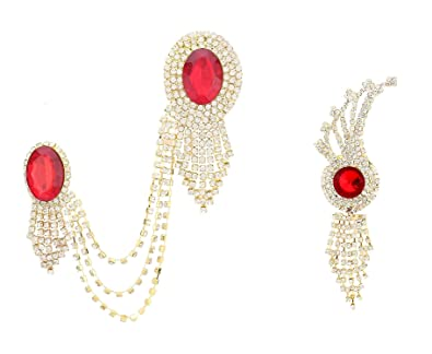 0d8273095 Buy ZIUM Red Crystal Jhalar Brooch for Men -Pack of 2 Online at Low Prices  in India   Amazon Jewellery Store - Amazon.in