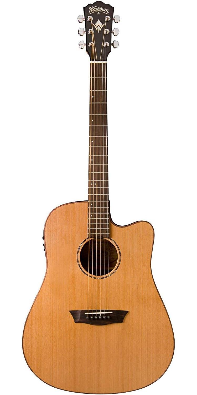 Washburn madera maciza serie wd160swce Dreadnought acústica guitarra eléctrica, Natural: Amazon.es: Instrumentos musicales