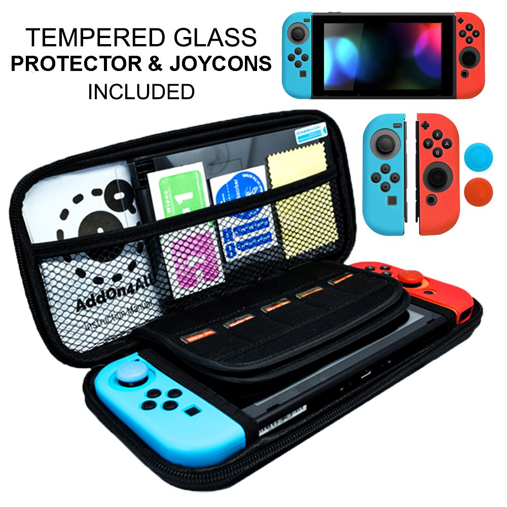 Switch Carrying Case for Nintendo, Switch Accessories, Switch Screen Protector, JoyCon Cover Grip, 20 Game SD Memory Card Protective Carrying Case Starter Kit
