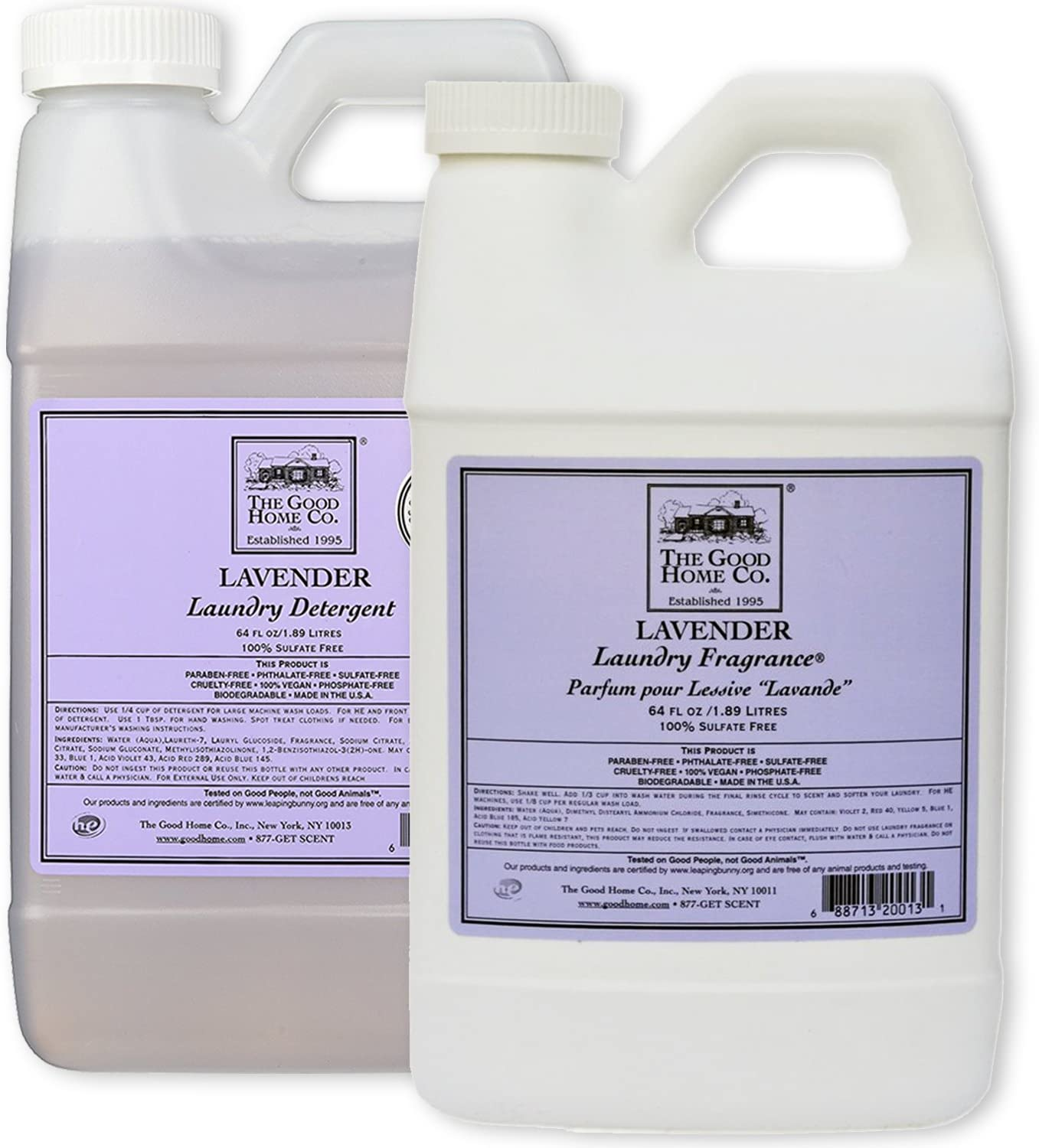 Natural Liquid Laundry Detergent Refill, 64-Load (64 fl. Oz) + Liquid Laundry Fabric Softener 64 Oz. Refill - The Good Home, Scent - Lavender