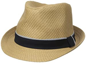 Sperry Top-Sider Men's Straw Fedora, Navy, Large/X-Large