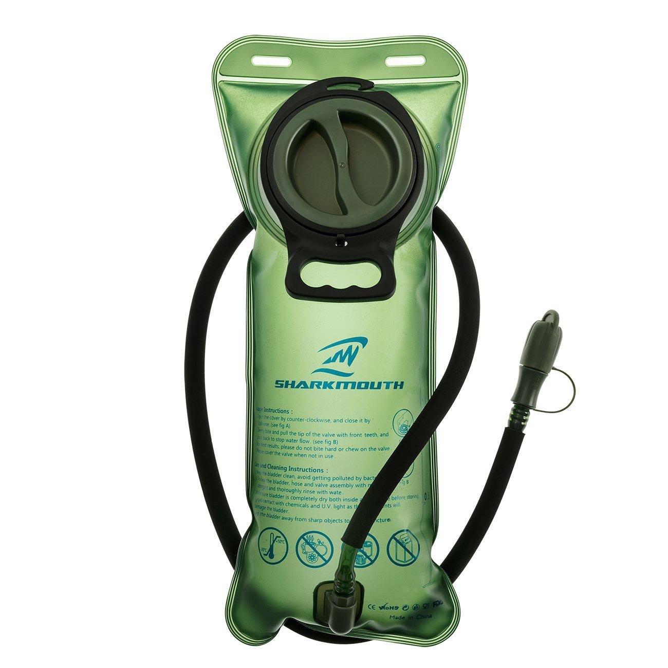 SHARKMOUTH 2 litros de bolsa de hidratación – depósito de agua de repuesto resistente – tapa a prueba de fugas – mejor para senderismo, camping, ciclismo, caza