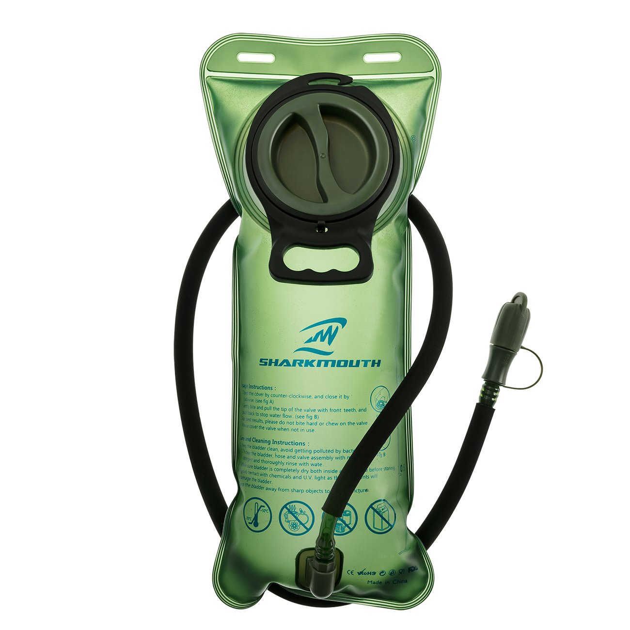 SHARKMOUTH 2 Liter Hydration Bladder - Heavy Duty Replacement Water Reservoir - Leak Proof Cap - Best for Hiking, Camping, Cycling, Hunting