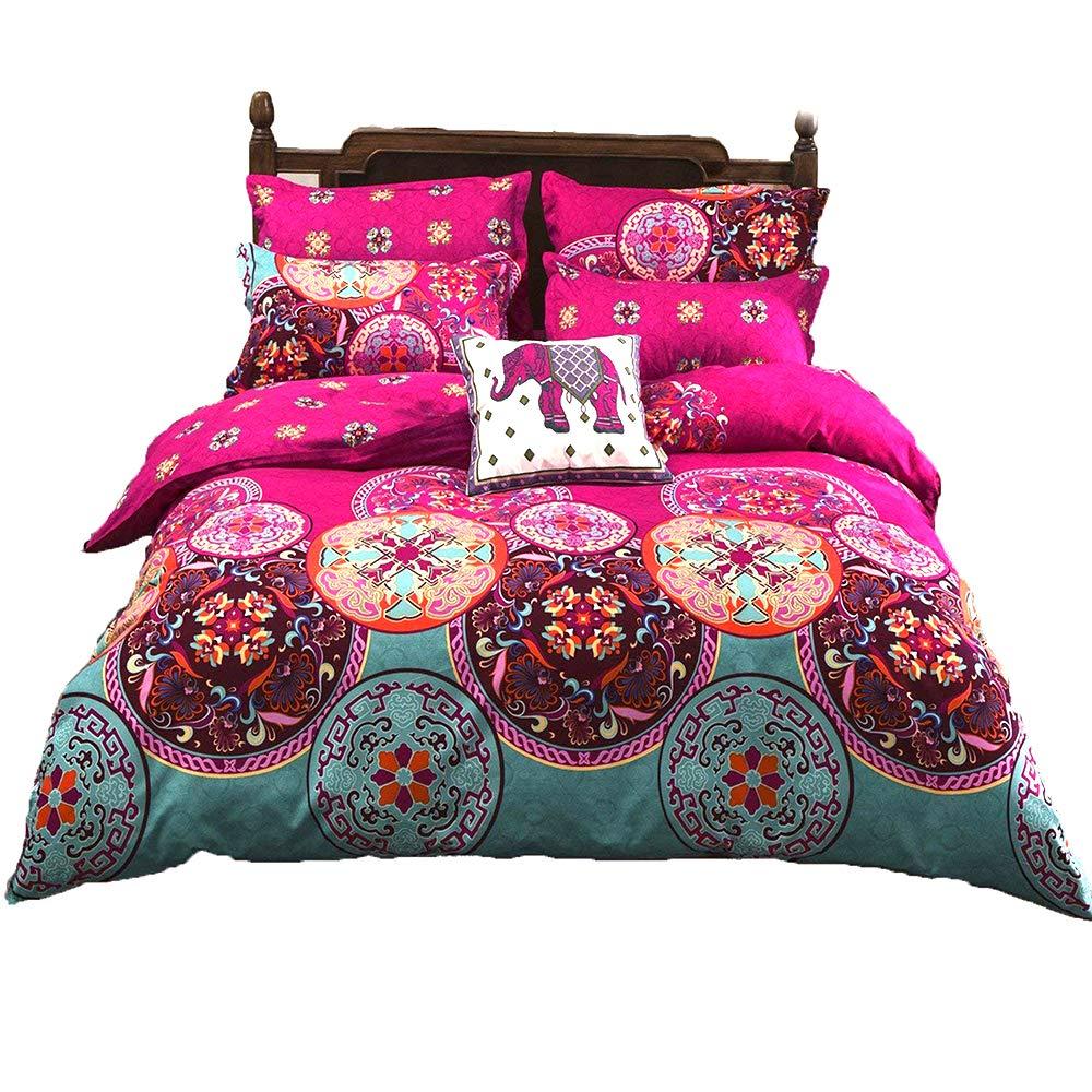 LAMEJOR Duvet Cover Set Queen Size Bohemia Exotic Pattern Luxury Soft Bedding Set Comforter Cover (1 Duvet Cover+2 Pillowcases) Fuchsia Pink/Turquoise Blue