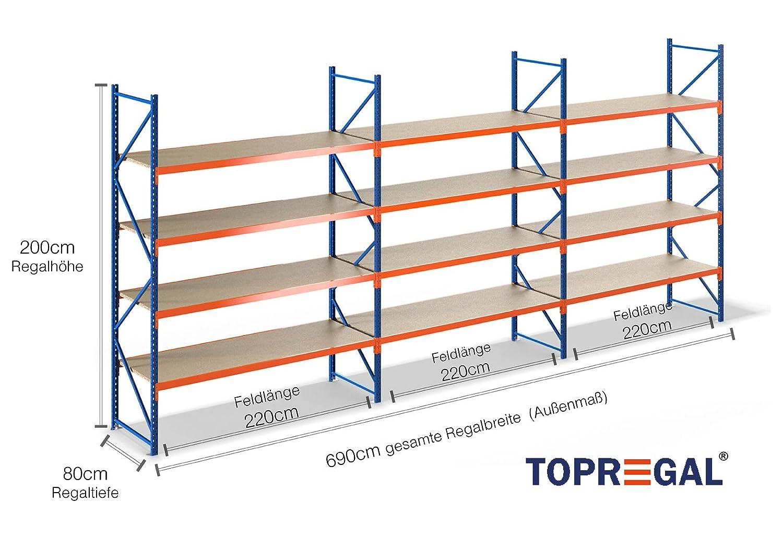 Verführerisch Regal 2m Hoch Ideen Von Lagerregal Schwerlastregal 6,9m Breit, Hoch, 80cm Tief,